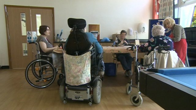 Disabled people at a day centre