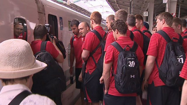Wales squad boards Bullet Train to Tokyo