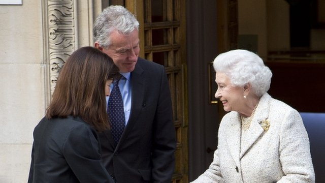 The Queen greets staff at the hospital