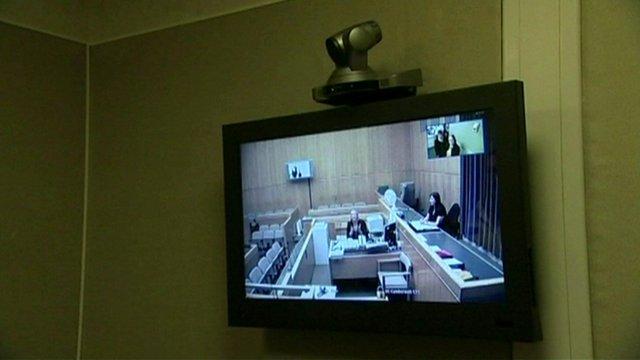 A court room via video link