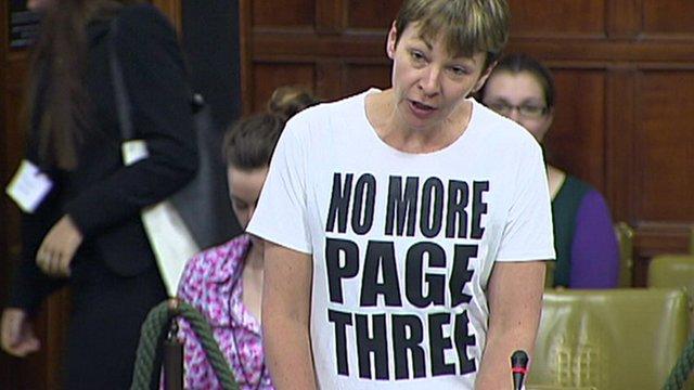 Caroline Lucas wearing T-shift saying 'No More Page Three'