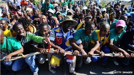 Striking Lonmin miners in Marikana May 2013