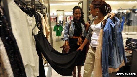 Shoppers in a branch of Zara in Johannesberg