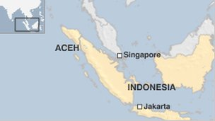 Map showing Aceh