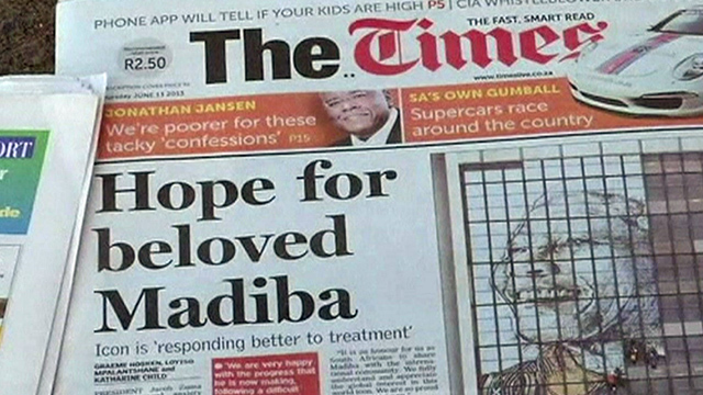 South African newspaper front page about Nelson Mandela