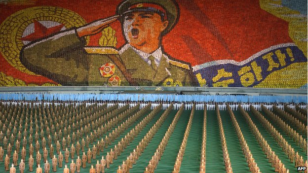 North Korean troops perform during the Arirang festival at the May Day Stadium in Pyongyang on 6 October 2005.