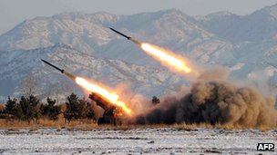 File photo: an undated handout file photo released by the Korean Central News Agency on 5 January 2009 shows a missile-firing drill at an undisclosed location in North Korea.