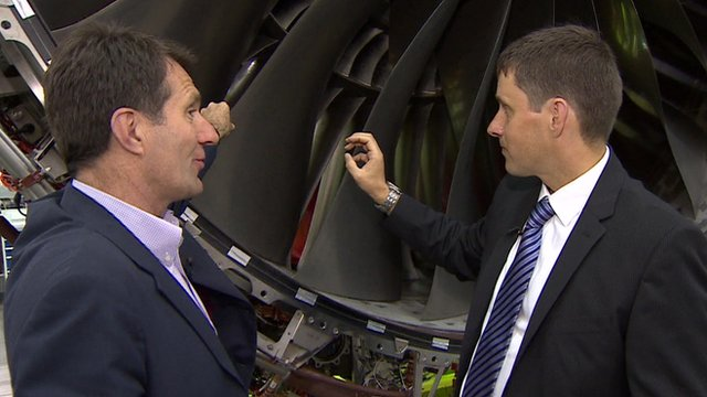 David Shukman with Rolls Royce's Chris Young and the XWB engine