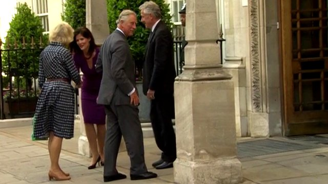 Prince Charles and the Duchess of Cornwall arrive at the hospital to visit Prince Philip on Friday