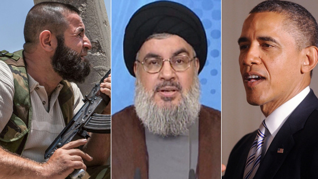 A Syrian rebel, Hassan Nasrallah and President Barack Obama