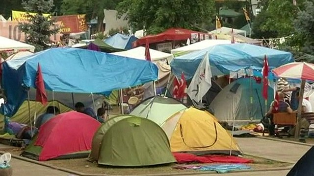 Protesters' tents
