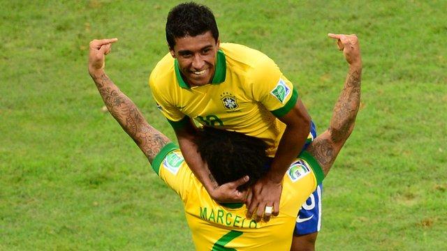 Paulinho scores for Brazil
