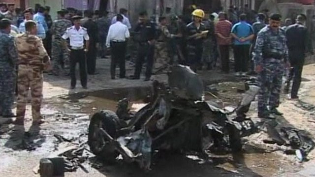 Wreckage of vehicle destroyed by bomb