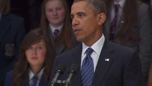 Barack Obama addressing the Waterfront Hall