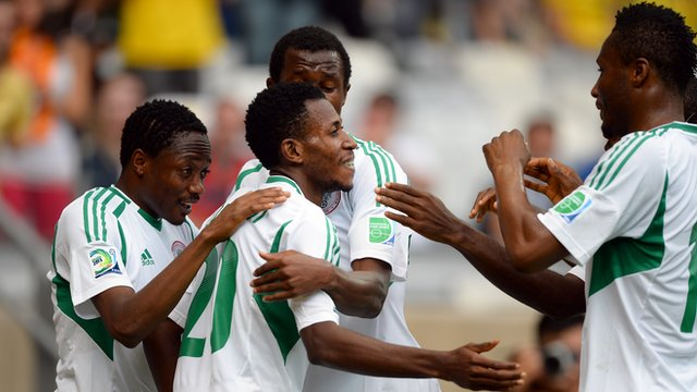 Nigeria celebrate their second goal against Tahiti
