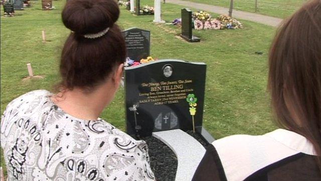 Jo Tilling at her son's grave