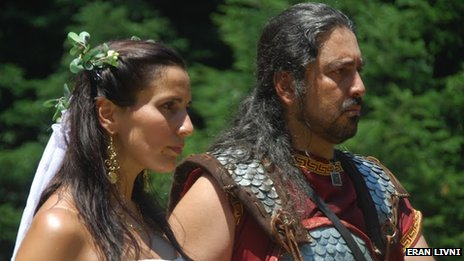 A couple at their marriage ceremony on Mount Olympus