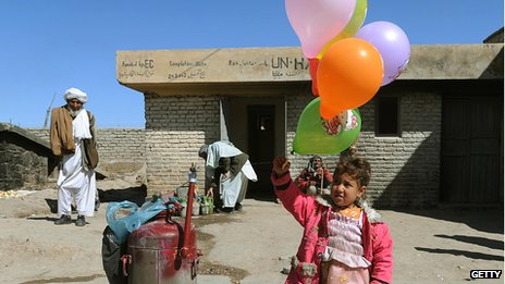 Girl holding balloons in Afghanistan