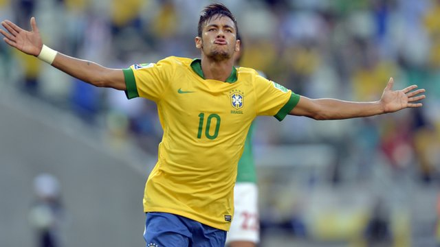 Neymar celebrates after scoring against Mexico