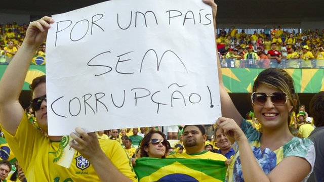"Brazilian football fans show a poster reading ""For a Country Without Corruption"""