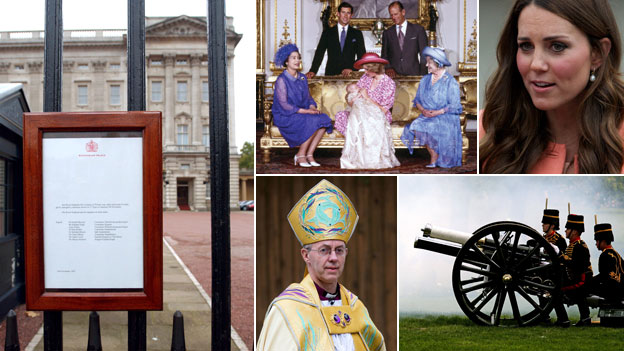 (Clockwise from left) Notice on Buckingham Palace gate; Prince William's christening; Prince William's signature; gun salute; Archbishop of Canterbury