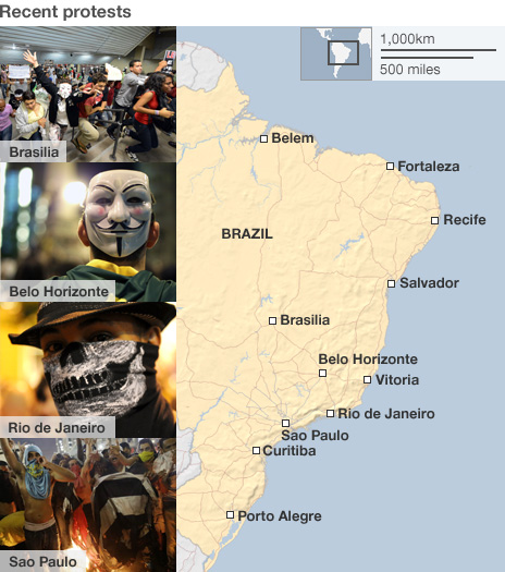 Map of Brazil protests
