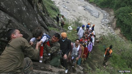 The Indian Army is rescuing people from flood-affected areas in Uttarakhand and Himachal Pradesh states