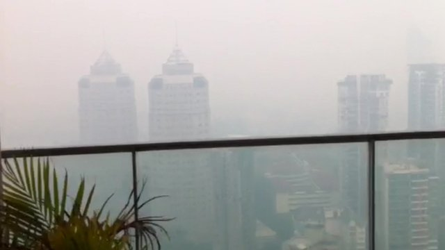 View of smog from balcony in Novena, Singapore