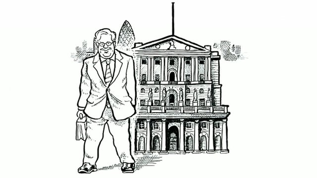 Cartoon of Sir Mervyn King outside the Bank of England