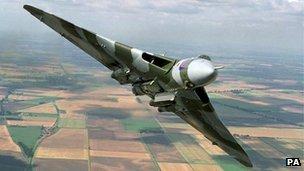 Vulcan bomber in flight