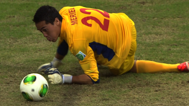 Tahitian goalkeeper Gilbert Meriel