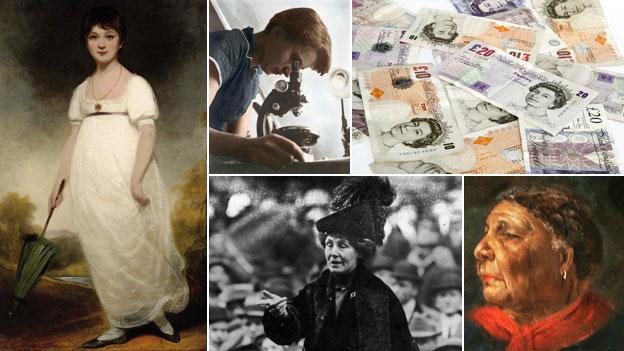 (Clockwise from left): Jane Austen; Rosalind Franklin; money; Mary Seacole; Emmeline Pankhurst