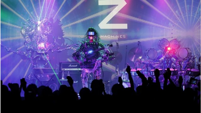 Members of the robot rock band Z-Machines
