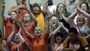 Abortion rights supporters in the public gallery during the vote on abortion restrictions in Texas