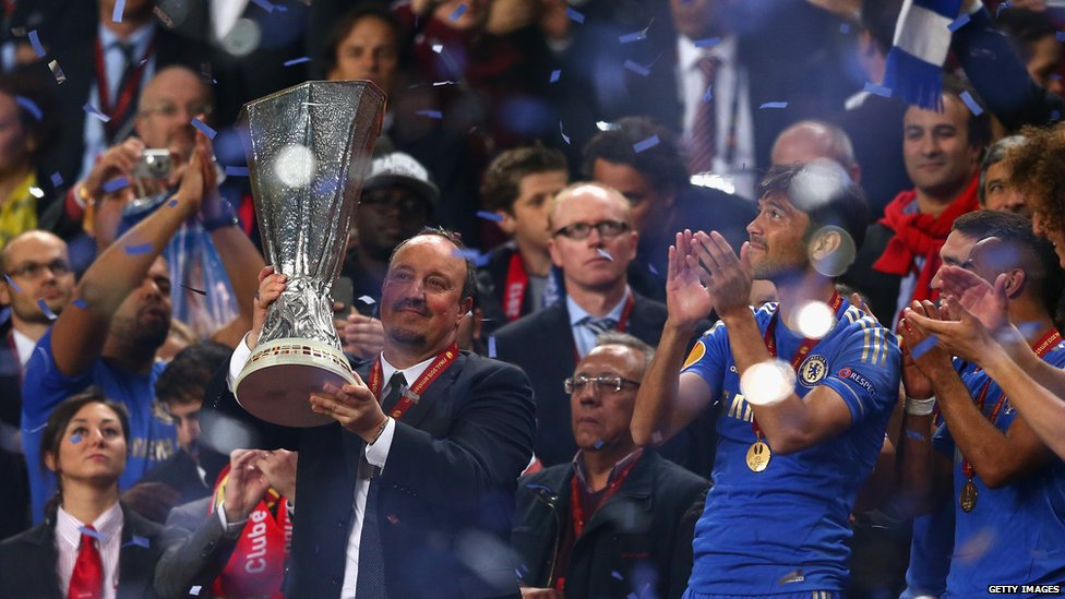 Chelsea interim manager Rafael Benitez poses with the Europa League trophy after the victory over Benfica at Amsterdam Arena on 15 May, 2013 in the Netherlands.