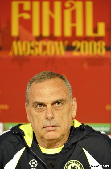Avram Grant at a news conference before the 2008 Champions League final in Moscow.