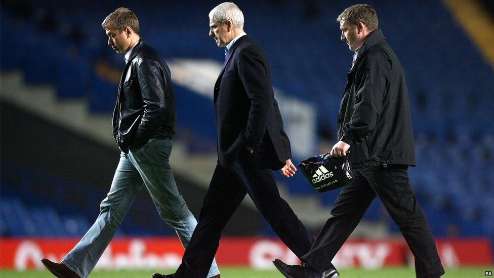 Chelsea owner Roman Abramovich (l) and Eugene Tenenbaum (c) walk across Stamford Bridge