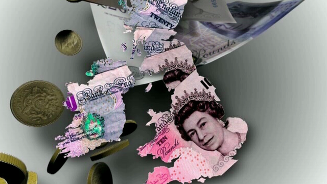 Graphic showing UK as bank notes