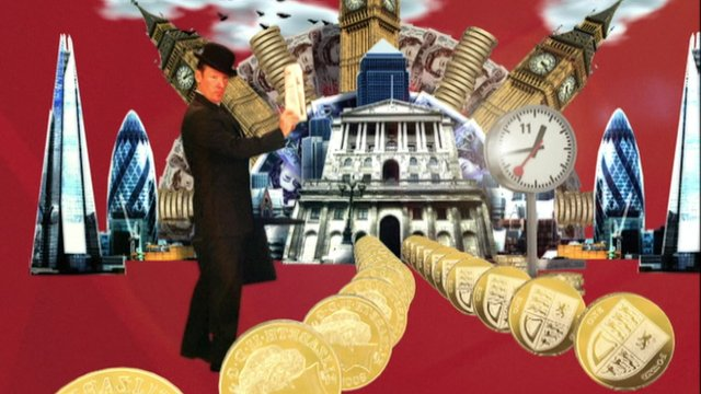 graphic of money and London buildings