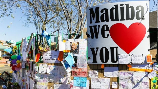 """""""Madiba we love you"""" is a constant theme among the messages on the wall, referring to the former South African leader by his clan name"""