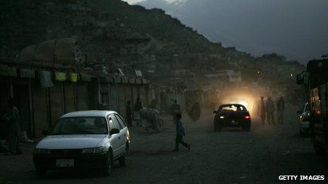 Cars driving through Kabul