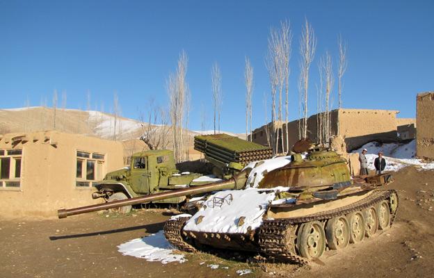 Tanks in a schoolyard