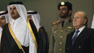 Sheikh Tamim Al-Thani with Sepp Blatter