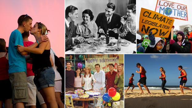 Composite of a couple, people having dinner, political activists, some runners on a beach and the cast of Friends