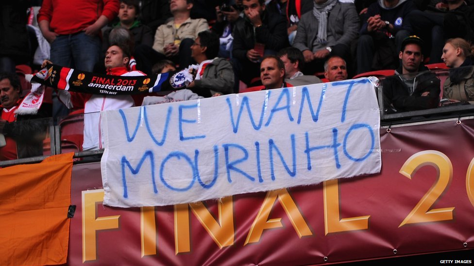 Some Chelsea fans show their support for former manager Jose Mourinho