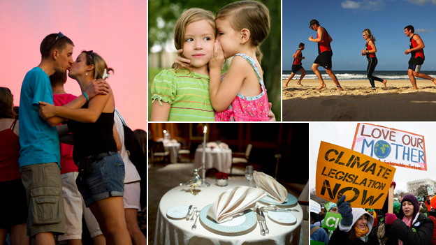 Composite of a couple kissing, two kids whispering, runners on a beach, political activists, and a dinner table