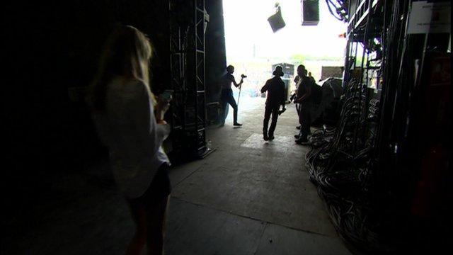 Backstage at Glastonbury's Pyramid Stage