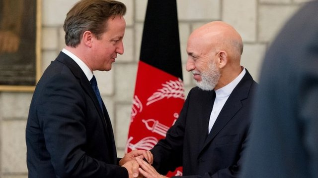 UK Prime Minister David Cameron and Afghan President Hamid Karzai