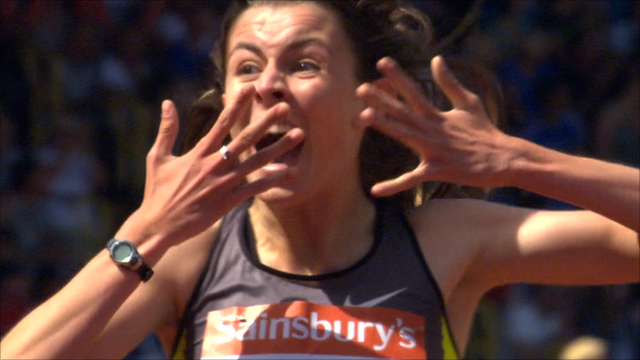 Jessica Judd reacts to winning the women's 800m