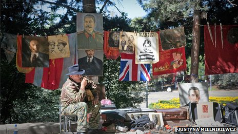 Flea market in Tbilisi selling pictures of Joseph Stalin